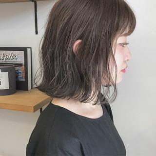 秋 透明感 ナチュラル ロブ ヘアスタイルや髪型の写真・画像