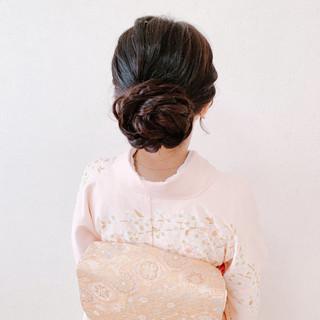 お呼ばれ 結婚式ヘアアレンジ 訪問着 ロング ヘアスタイルや髪型の写真・画像