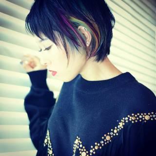 メッシュ ショート ブリーチ ストリート ヘアスタイルや髪型の写真・画像