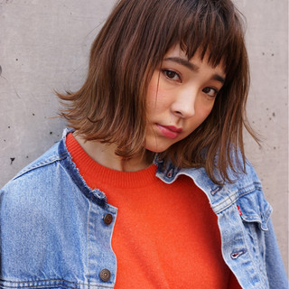 ボブ グラデーションカラー ハイライト 外国人風 ヘアスタイルや髪型の写真・画像