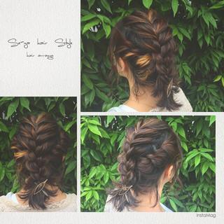 簡単ヘアアレンジ フェミニン ヘアアレンジ ハイライト ヘアスタイルや髪型の写真・画像