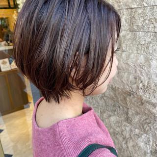 モテボブ ミニボブ 前下がりボブ アッシュ ヘアスタイルや髪型の写真・画像