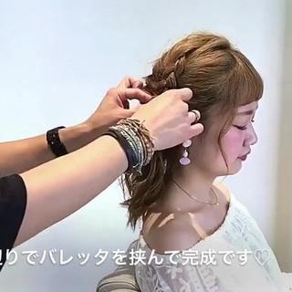ハーフアップ セミロング ヘアアレンジ フェミニン ヘアスタイルや髪型の写真・画像