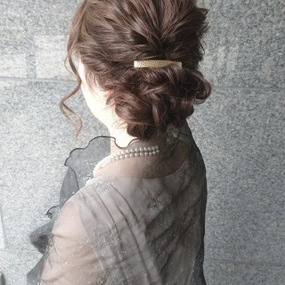 簡単ヘアアレンジ ショート セミロング エレガント ヘアスタイルや髪型の写真・画像