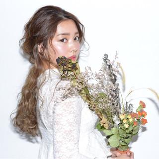 結婚式 ロング ヘアアレンジ 二次会 ヘアスタイルや髪型の写真・画像
