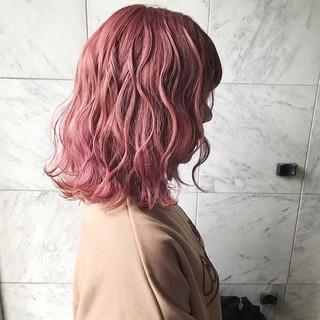 ガーリー 韓国ヘア 透明感カラー セミロング ヘアスタイルや髪型の写真・画像