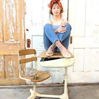 ベージュ 外ハネ ガーリー 簡単ヘアアレンジ ヘアスタイルや髪型の写真・画像
