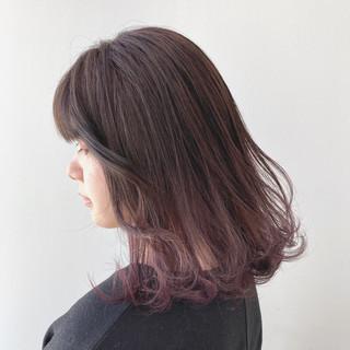 ラベンダーアッシュ フェミニン デート グラデーション ヘアスタイルや髪型の写真・画像