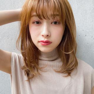デジタルパーマ 鎖骨ミディアム 透明感カラー ナチュラル ヘアスタイルや髪型の写真・画像