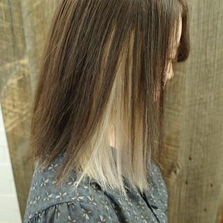 ストリート ブリーチカラー ホワイトブリーチ ミディアム ヘアスタイルや髪型の写真・画像