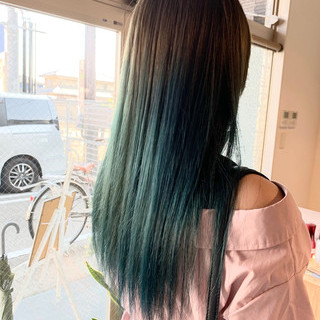 透明感カラー ブリーチ ターコイズブルー ダブルカラー ヘアスタイルや髪型の写真・画像