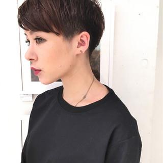 ボーイッシュ 外国人風 ショート ウェットヘア ヘアスタイルや髪型の写真・画像