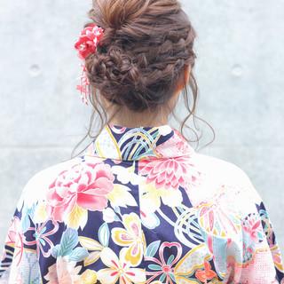 和装 お祭り 涼しげ ナチュラル ヘアスタイルや髪型の写真・画像