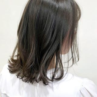 ベージュ ナチュラル 切りっぱなしボブ 韓国 ヘアスタイルや髪型の写真・画像
