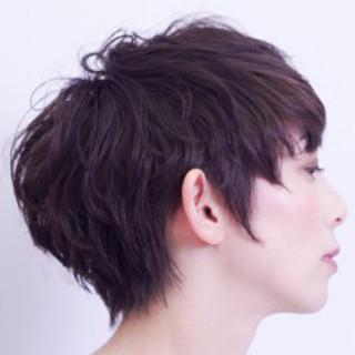 ショート ウェットヘア 艶髪 小顔 ヘアスタイルや髪型の写真・画像