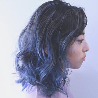 インナーカラー アッシュ ボブ グラデーションカラー ヘアスタイルや髪型の写真・画像