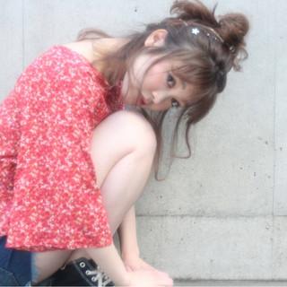 アウトドア ヘアアレンジ ミディアム お団子 ヘアスタイルや髪型の写真・画像