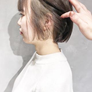 外国人風 小顔 ハイライト ボブ ヘアスタイルや髪型の写真・画像