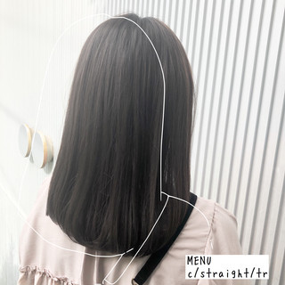 グレージュ 髪質改善 前髪 縮毛矯正 ヘアスタイルや髪型の写真・画像
