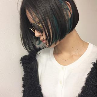 ストリート インナーカラー モード ボブ ヘアスタイルや髪型の写真・画像