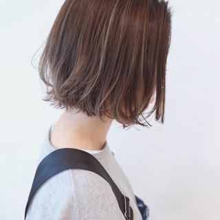 ナチュラルグラデーション ハイライト ボブ ストリート ヘアスタイルや髪型の写真・画像