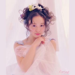 グラデーションカラー フェミニン ヘアアレンジ ショート ヘアスタイルや髪型の写真・画像