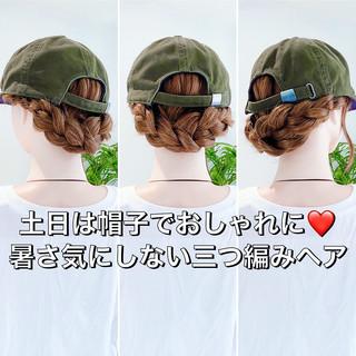 三つ編み フェミニン ヘアセット くるりんぱ ヘアスタイルや髪型の写真・画像