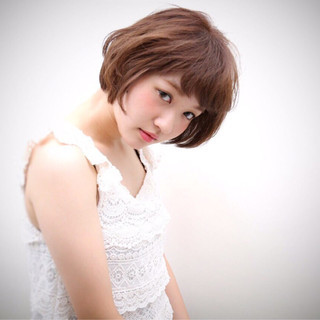 パーマ ヘアアレンジ ショート アッシュ ヘアスタイルや髪型の写真・画像