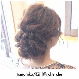 結婚式 ショート ヘアアレンジ 編み込み ヘアスタイルや髪型の写真・画像