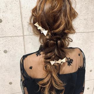 ロング デート セルフヘアアレンジ フェミニン ヘアスタイルや髪型の写真・画像