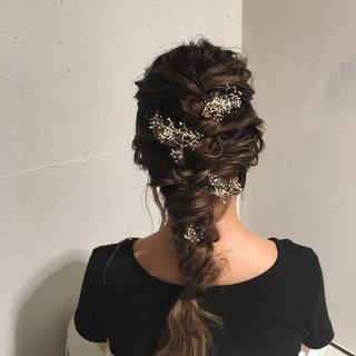 編み込み ロング ヘアアレンジ 簡単ヘアアレンジ ヘアスタイルや髪型の写真・画像