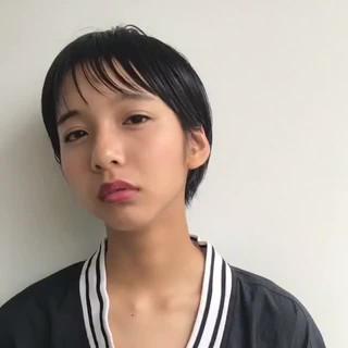 外国人風 ショート 透明感 前髪あり ヘアスタイルや髪型の写真・画像