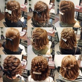 編み込み フェミニン ヘアアレンジ ボブ ヘアスタイルや髪型の写真・画像