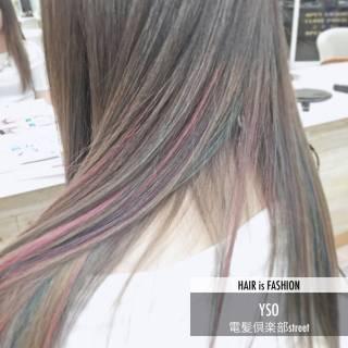ピンク グレー パープル カラフルカラー ヘアスタイルや髪型の写真・画像