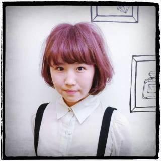 ボブ グラデーションカラー ストリート ピンク ヘアスタイルや髪型の写真・画像