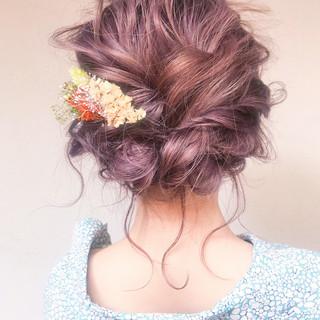 ヘアアレンジ フェミニン アンニュイほつれヘア 結婚式 ヘアスタイルや髪型の写真・画像