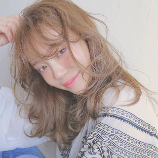 モテ髪 セミロング ブラウン 外国人風 ヘアスタイルや髪型の写真・画像