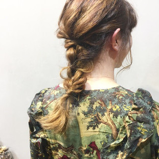 簡単ヘアアレンジ ミディアム ピンクベージュ ピンクブラウン ヘアスタイルや髪型の写真・画像