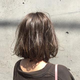 透明感 グレージュ ナチュラル ボブ ヘアスタイルや髪型の写真・画像