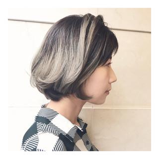 外国人風 アッシュグレー ハイライト 外国人風カラー ヘアスタイルや髪型の写真・画像