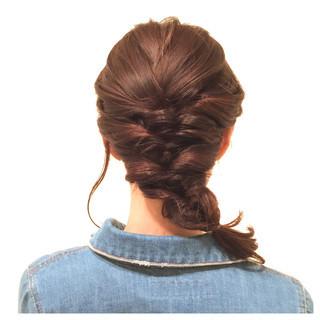 編み込み お祭り セミロング 花火大会 ヘアスタイルや髪型の写真・画像