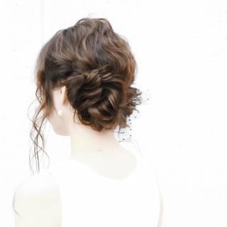 編み込み ヘアアレンジ コンサバ モテ髪 ヘアスタイルや髪型の写真・画像