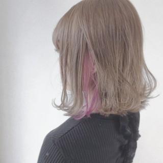 ピンク ボブ アッシュベージュ こなれ感 ヘアスタイルや髪型の写真・画像