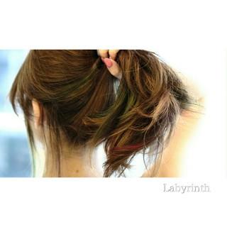 暗髪 グラデーションカラー ロング ストリート ヘアスタイルや髪型の写真・画像