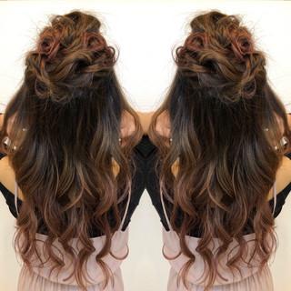結婚式 ヘアアレンジ 簡単ヘアアレンジ バレイヤージュ ヘアスタイルや髪型の写真・画像