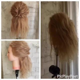 ヘアアレンジ 簡単ヘアアレンジ パーティ ミディアム ヘアスタイルや髪型の写真・画像