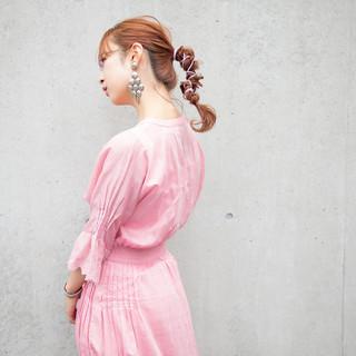 ヘアアレンジ 結婚式ヘアアレンジ セミロング ポニーテールアレンジ ヘアスタイルや髪型の写真・画像