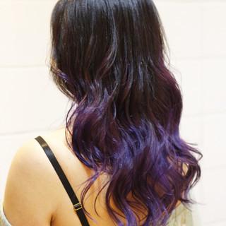 フェミニン グラデーションカラー ロング ブリーチカラー ヘアスタイルや髪型の写真・画像