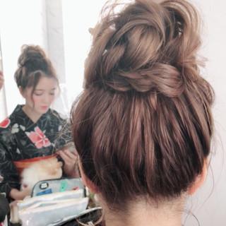 夏 和装 ヘアアレンジ お団子 ヘアスタイルや髪型の写真・画像