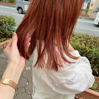 ピンク ベージュ ラズベリーピンク ミディアム ヘアスタイルや髪型の写真・画像